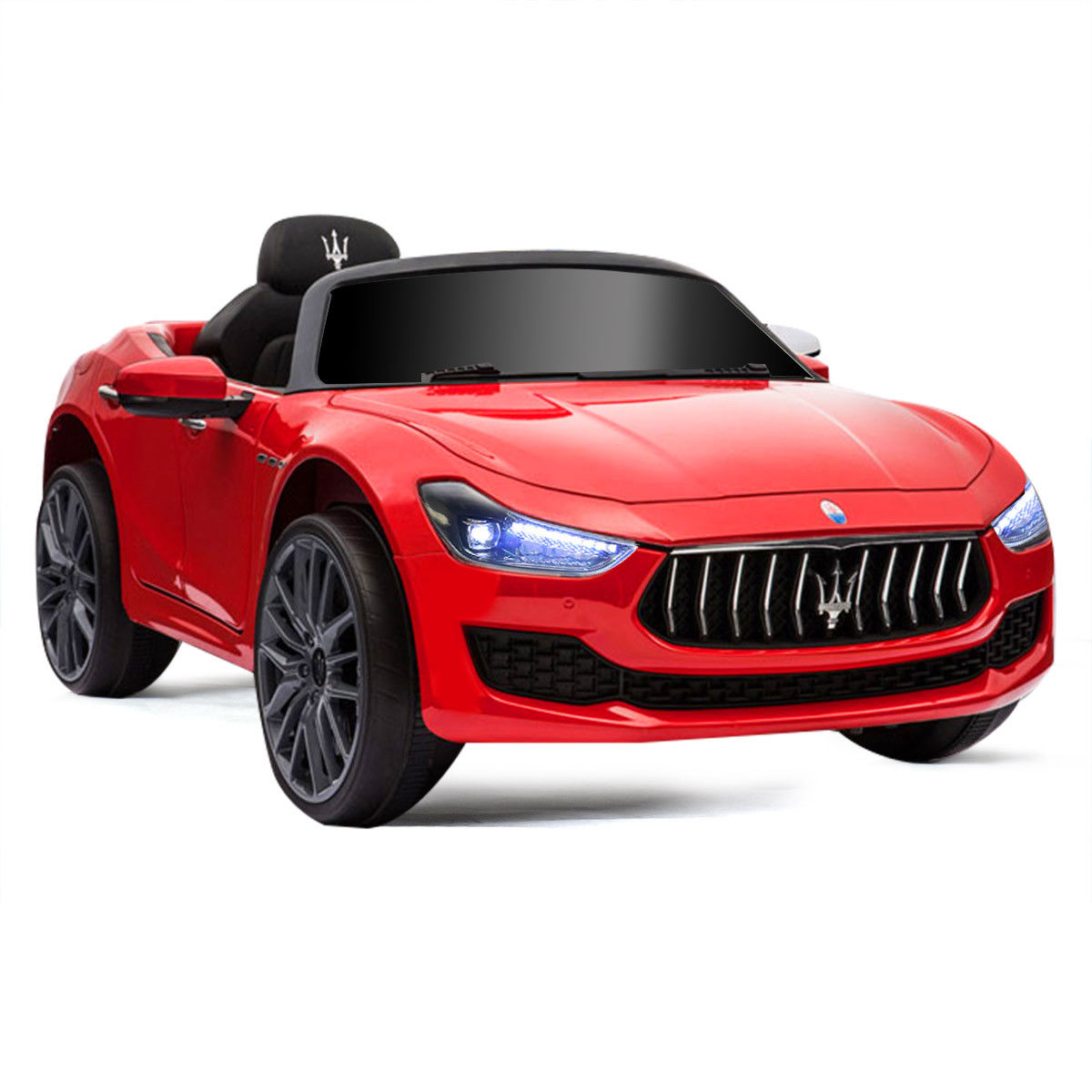 Gymax 12V Maserati Licensed Kids Ride on Car w/ RC Remote Control Led Lights MP3 Red