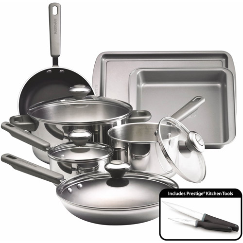 Farberware Dishwasher Safe Stainless Steel 13-Piece Cookware Set by Meyer Corporation