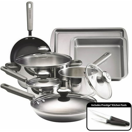 - Farberware Stainless Steel Dishwasher Safe Cookware Set, 13 Piece