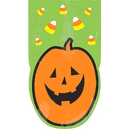 Family Friendly Halloween Pumpkin Large Die‑Cut Cello Bags Party Favour, Plastic, 9