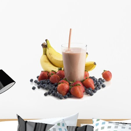 Smoothie Glass Surrounded Fruit Wall Decal by Wallmonkeys Peel and Sti