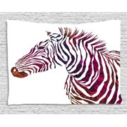 Animal Tapestry, Ornamental Zebra Profile Silhouette Artistic Striped Safari Theme Artwork, Wall Hanging for Bedroom Living Room Dorm Decor, 60W X 40L Inches, Purple Pink Coral, by Ambesonne