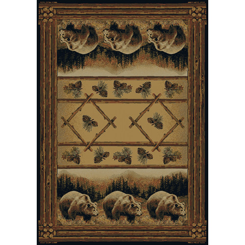 Hautman Brothers Rugs Hautman Grizzly Pines Lodge Brown Area Rug