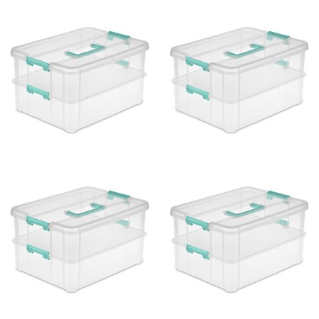Sterilite, Stack & Carry 2 Layer Handle Box, Clear, Case of (Lanier Box)