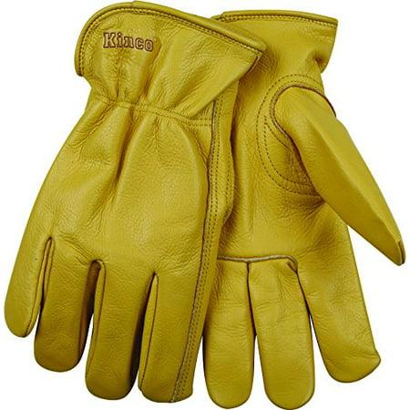 Kinco International 98XL Grain Cowhide Gloves, Unlined, Keystone Thumb, Shirred Elastic Back, Extra Large Shirred Unlined Gloves
