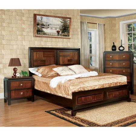 Furniture of America Duo-tone 3-piece Acacia and Walnut Bedroom Set Queen