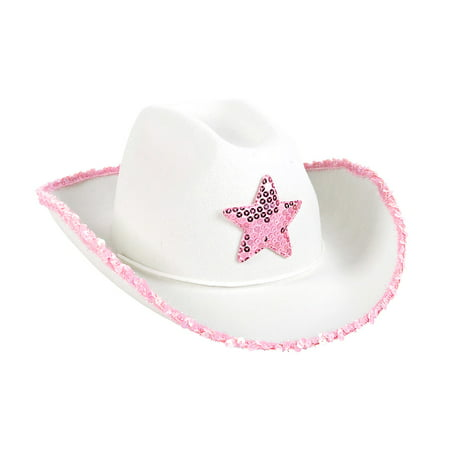 Costume Accessories Rhode Island Novelty White Felt Cowgirl Hat with Sequin Pink Star - Costume (Skipper Costume Gilligan's Island)