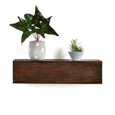 Welland 6 High Dylan Rustic Floating Shelf Reclaimed Wood Wall Fireplace Mantel Mounted Walnut Color 24 X6 Dx6 H