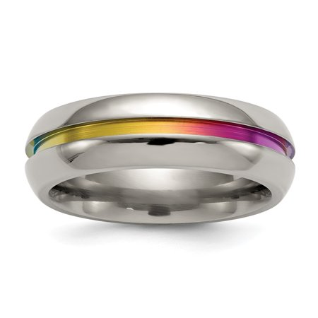 Edward Mirell Jewelry Collection Titanium Multi-Colored Anodized Center 7mm Band Ring by Roy Rose Jewelry ~ Size 10.5