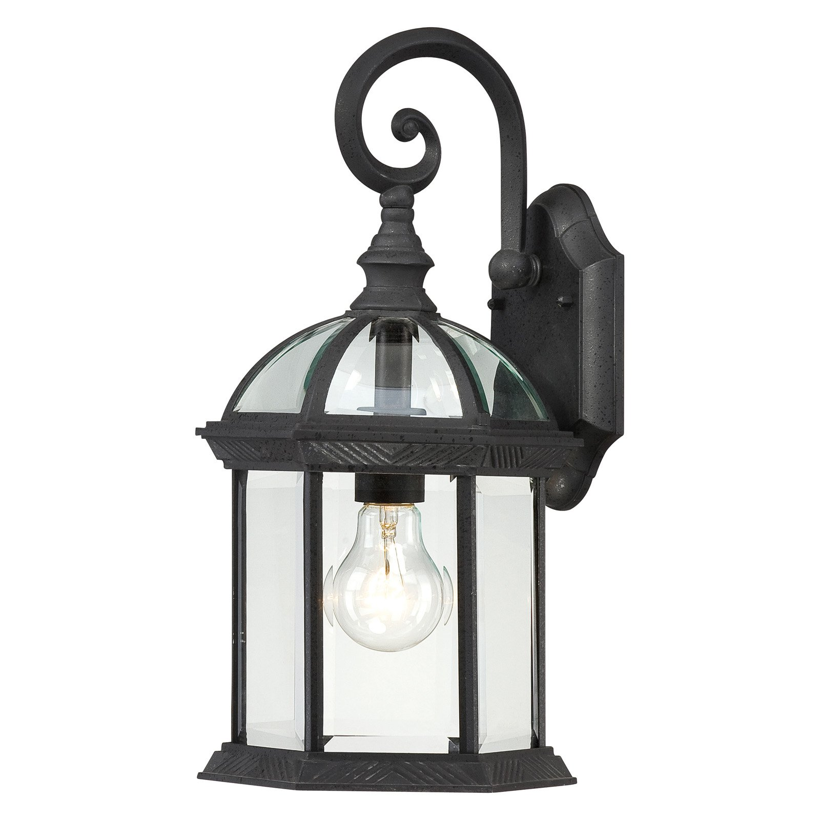 Satco Boxwood Textured Black Traditional Outdoor w/ 1 Light 100W