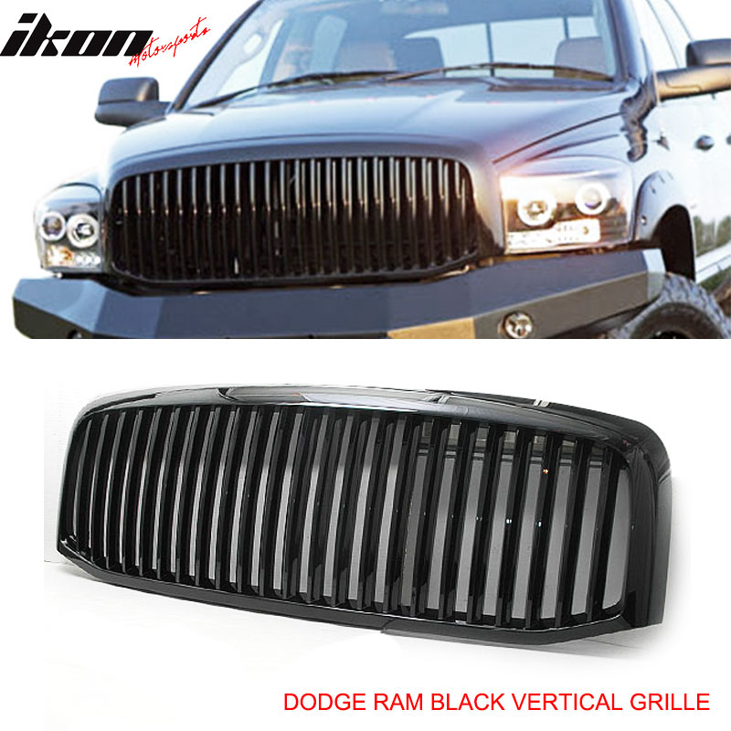 Grille Fits 2006-2008 Dodge Ram 1500 2500 3500 Mesh Front Upper Hood Grill Glossy Black by IKON MOTORSPORTS