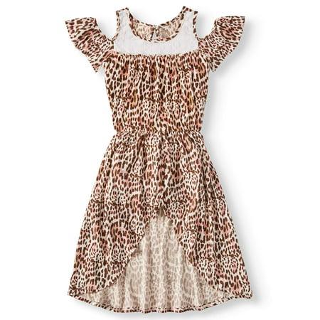 Animal Print Dresses (Animal Print Cold Shoulder Walk-Thru Maxi Dress (Big)