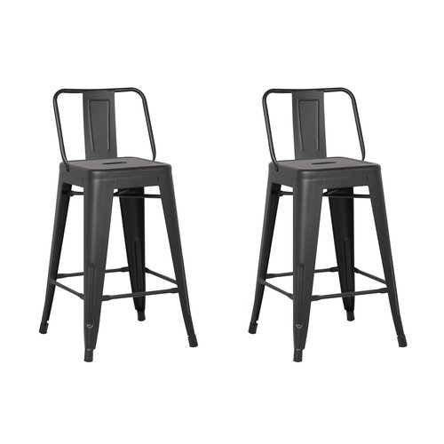 Image of AC Pacific Metal Barstool with Back, Matte Black, 24 -inch, Set of 2