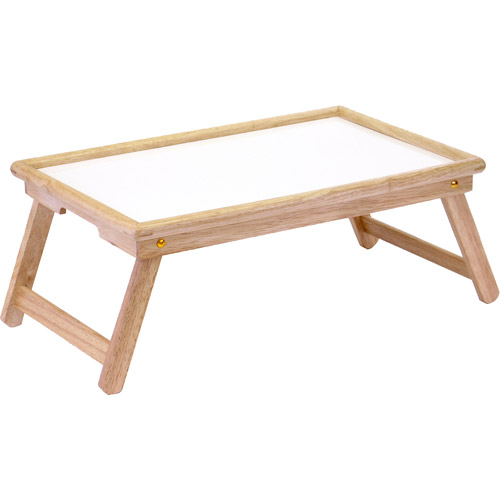 flip top lap table/bed tray, white melamine and beechwood