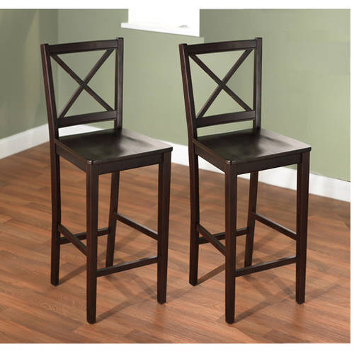 "Virginia Cross-Back Stool, 24"", Set of 2, Espresso"