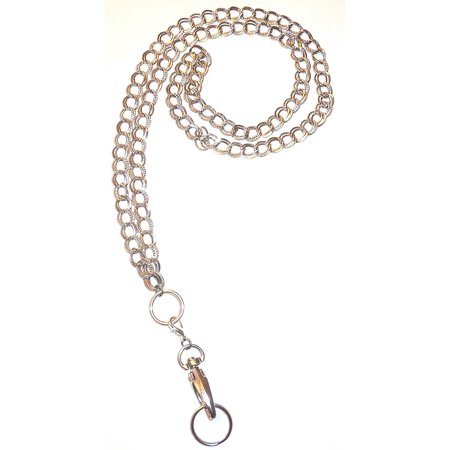 Hidden Hollow Beads Double Chain Women's Chain Fashion Lanyard Necklace, Jewelry ID Badge and Key Holder, 34 in. (Lanyard Necklace)