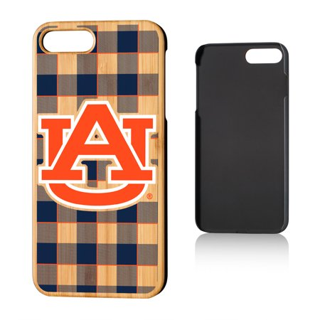 AU Auburn Tigers Plaid Bamboo Case for iPhone 8 Plus / 7 Plus Auburn Tigers Cell Phone Case
