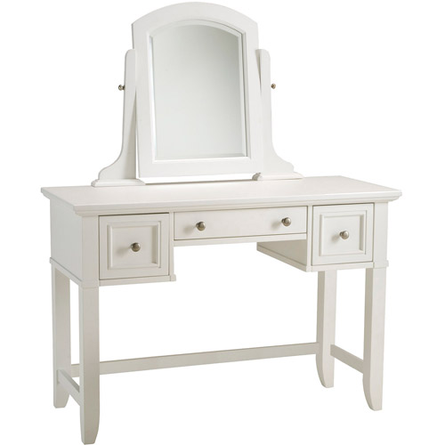 Home Styles Naples Vanity Table and Mirror, White