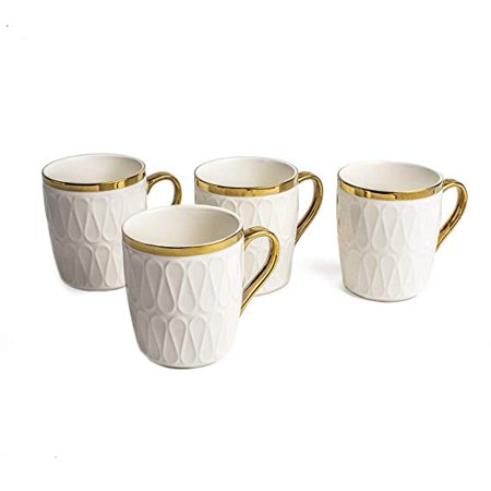 11 Oz Fine Porcelain Mug Ceramic Teacup Bone China Emma Collection White Cup for Tea or Coffee Set of 4 Fine Bone China Cup
