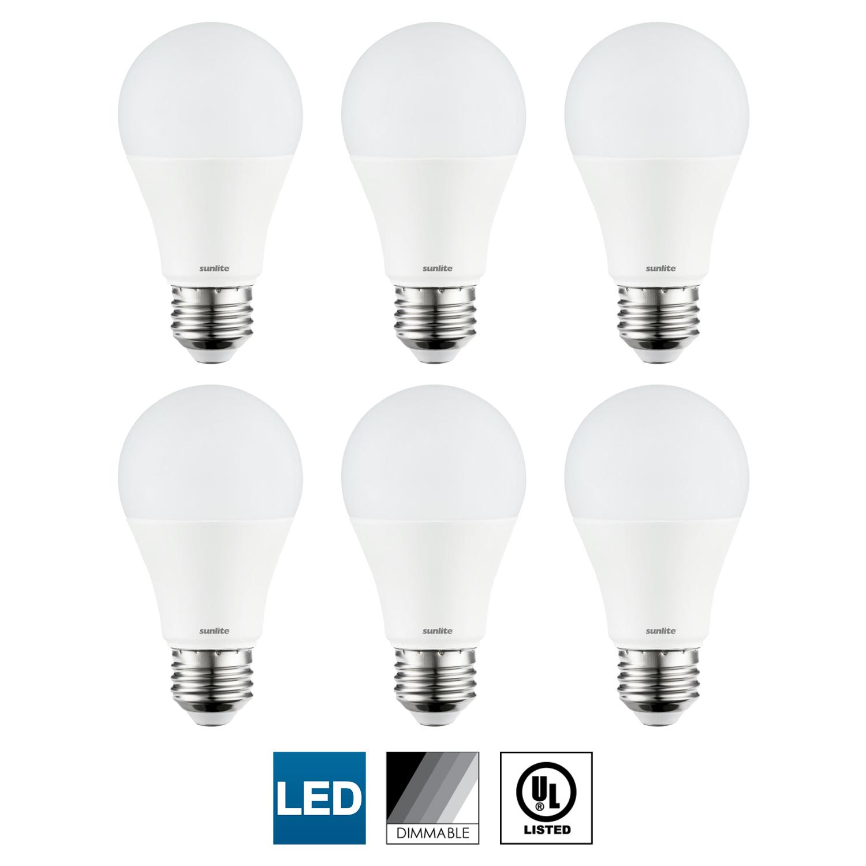 6-Pack Sunlite LED A21 Light Bulb, Dimmable, 15 Watts (100W Equal), Medium (E26) Base, 6500K Daylight, 1600 Lumen, UL Listed, Energy Star