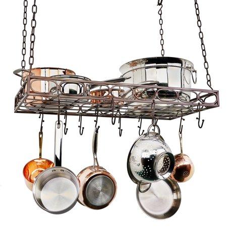 "36"" x 17¾"" x 3¾"" Oiled Bronze Rectangular Pot Rack w/16 Hooks"