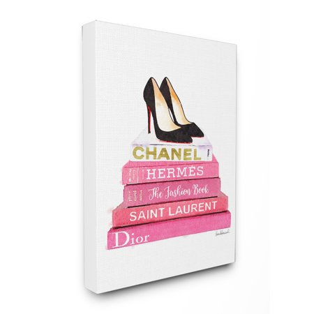 The Stupell Home Decor Collection Glam Pink Fashion Books Black Pump Hells Stretched Canvas Wall Art ()