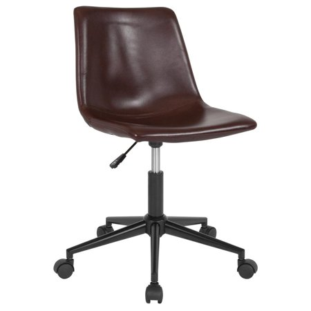 Home and Office Armless Task Chair with Double Line Stitch Detail in Brown Leather