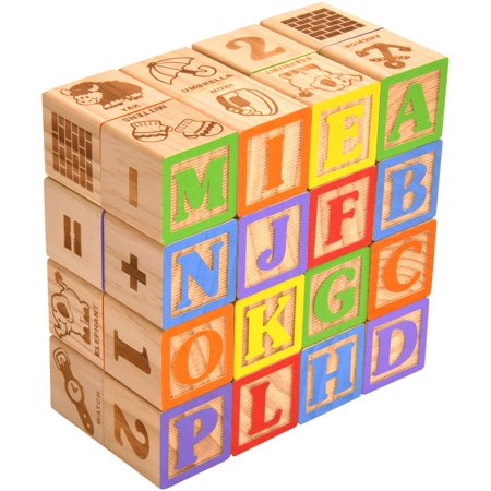 Alphabet Newborn Baby Blocks (Spark. Create. Imagine. 30-Piece Real Wood Alphabet Blocks)