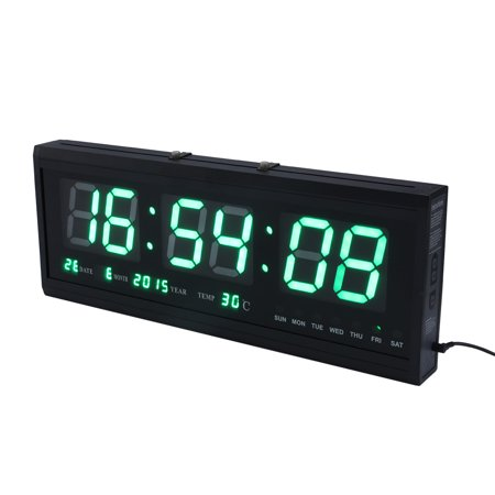 Large Digital Alarm Clock 12/24 Hour Jumbo Display with Indoor Temperature LED Wall Mounted Desk Time Calendar Clock  Wall Clock with