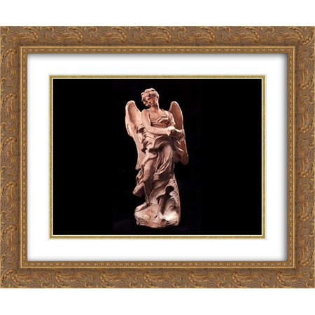 Gold Medal Crown Of Thorns (Gian Lorenzo Bernini 2x Matted 24x20 Gold Ornate Framed Art Print 'The Angel of the Crown of Thorns')
