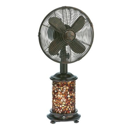 DecoBREEZE Oscillating Table Fan and Tiffany Style Table Lamp, 3-Speed Circulator Fan, 10-Inch, Metropolitan](Vintage Style Fan)