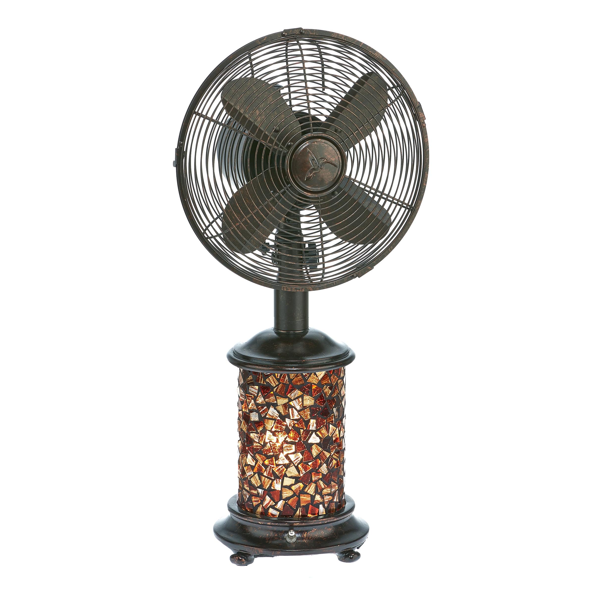 DecoBREEZE Oscillating Table Fan and Tiffany Style Table Lamp, 3-Speed Circulator Fan, 10-Inch, Metropolitan
