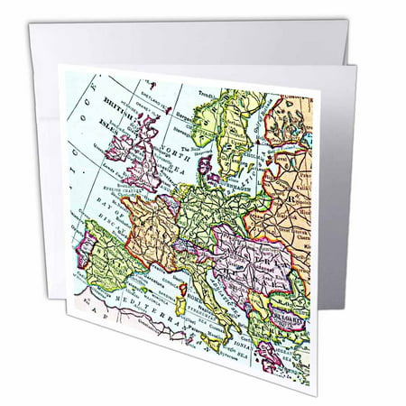 3dRose Vintage European map of Western Europe - Britain UK France Spain Italy etc - retro geography travel, Greeting Cards, 6 x 6 inches, set of