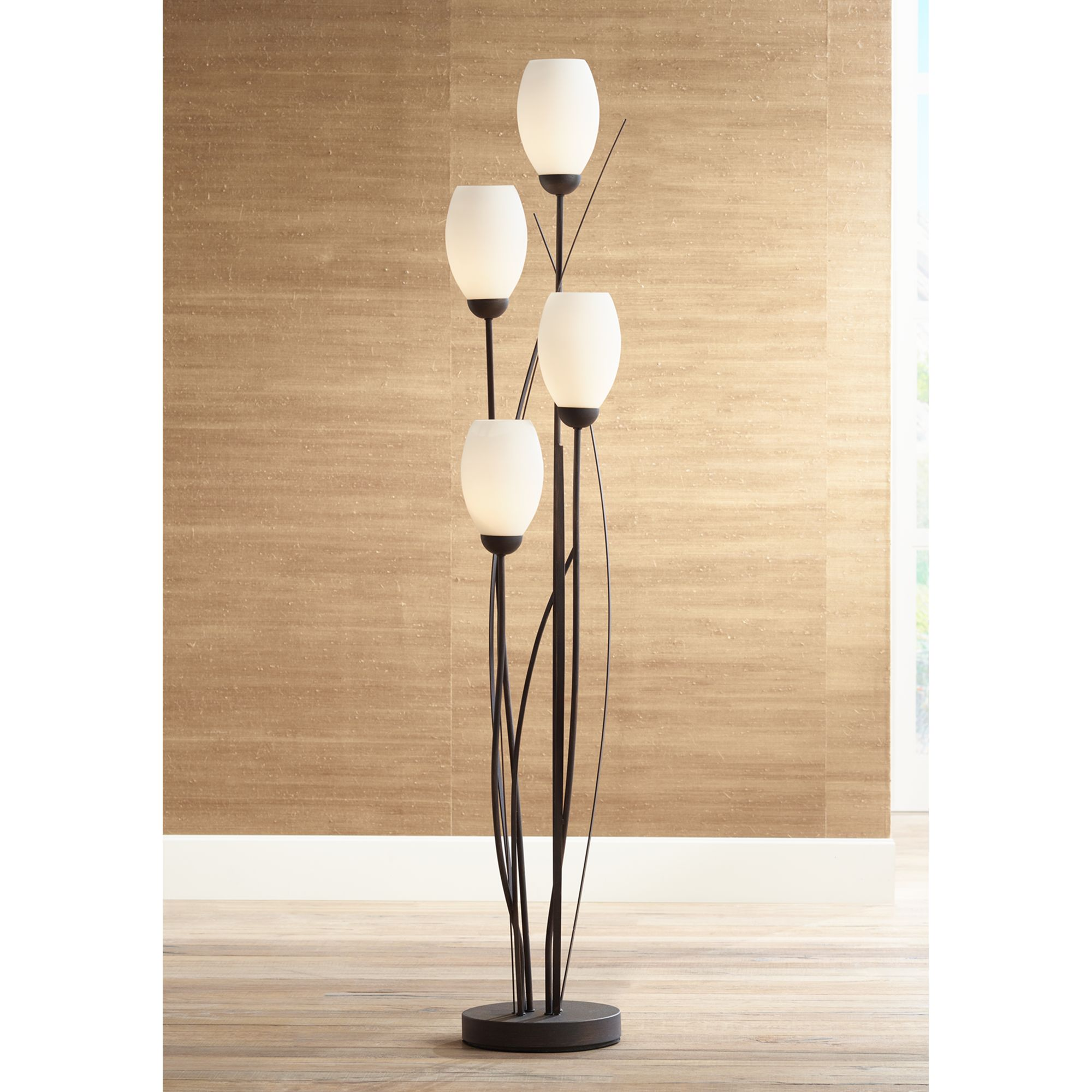 Franklin Iron Works Black Metal And White Glass Tulip 4 Light Floor Lamp by Franklin Iron Works