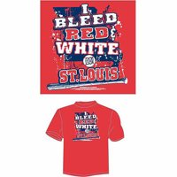"""St. Louis Baseball """"I Bleed Red and White, Go St.Louis"""" T-Shirt, Red"""