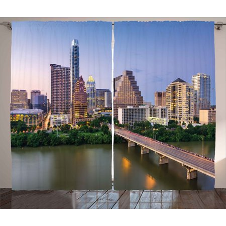 Modern Curtains 2 Panels Set, Austin Texas American City Bridge over the Lake Skyscrapers USA Downtown Picture, Window Drapes for Living Room Bedroom, 108W X 63L Inches, Multicolor, by Ambesonne - Austin City Living Halloween Party