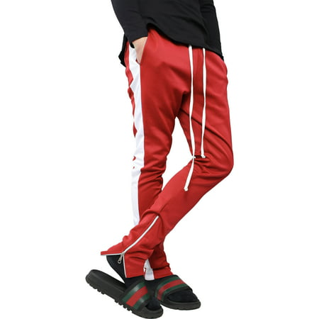 Ma Croix Mens Stripe Track Pants Skinny Fit Stretch Casual Elastic Athletic Training Slim Joggers