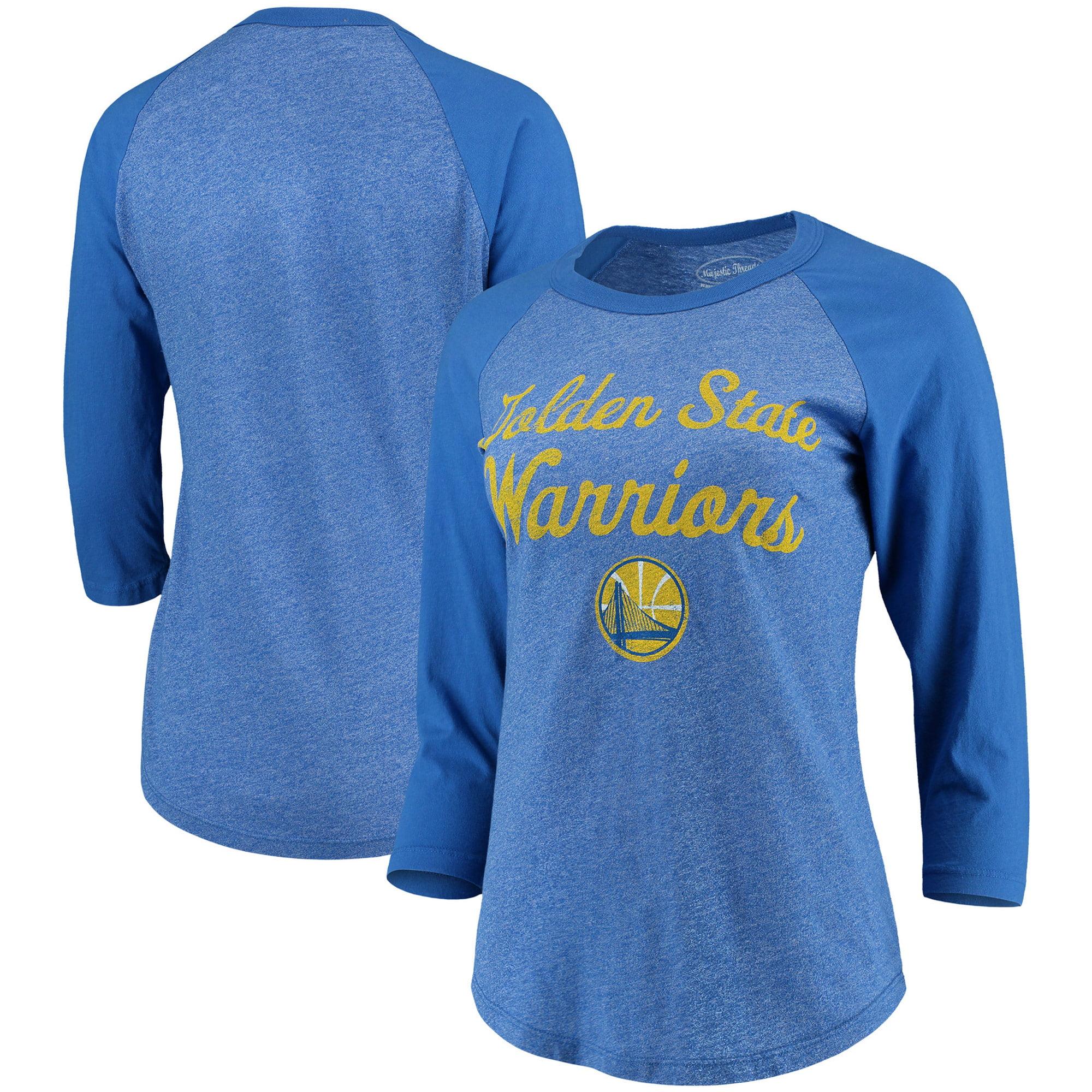Golden State Warriors Majestic Threads Women's Double Dribble Raglan Tri-Blend 3/4-Sleeve T-Shirt - Heathered Royal/Royal