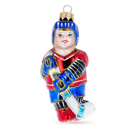 Hockey Player Mouth Blown Glass Christmas Ornament 4.8 Inches