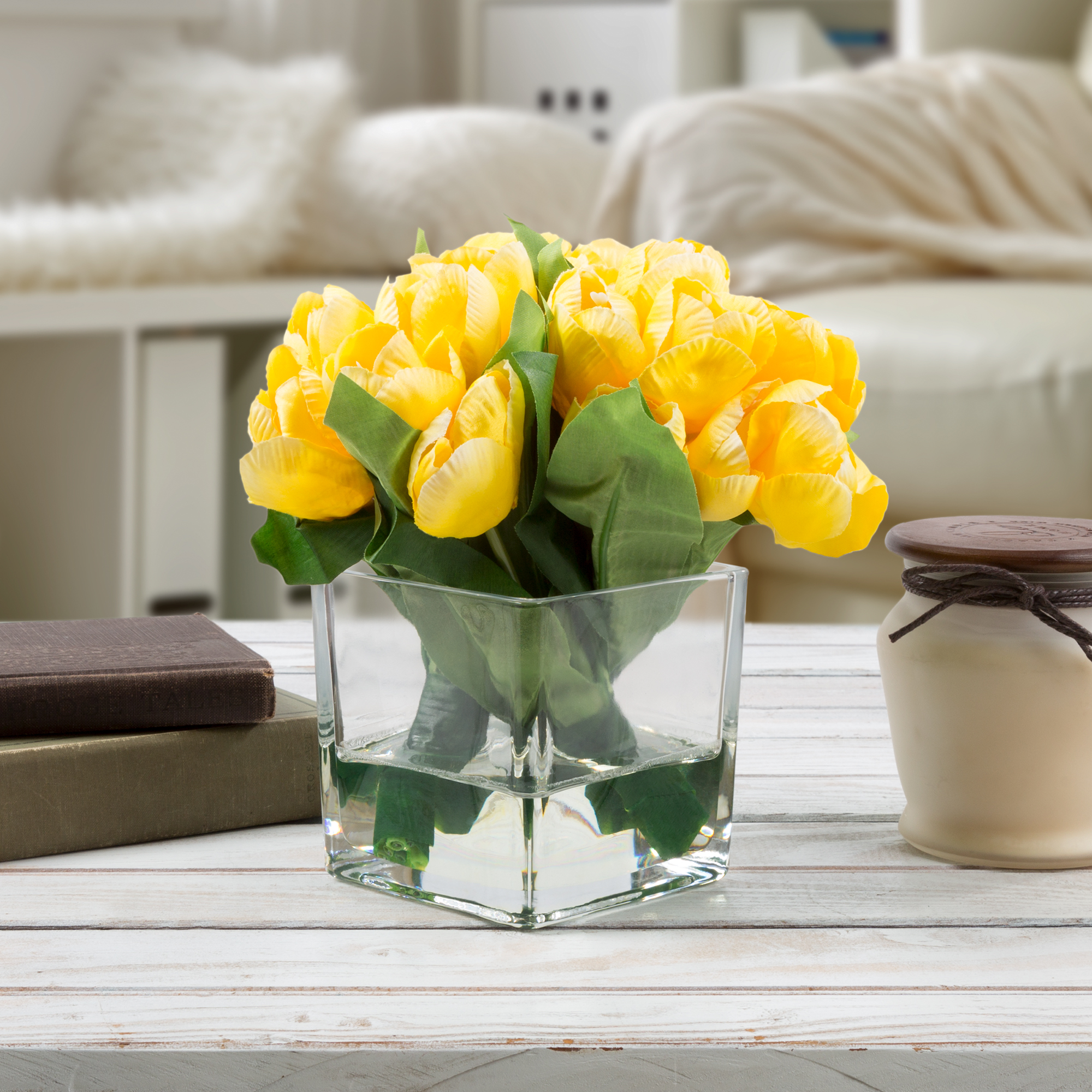 Multicolor Tulip Artificial Floral Arrangement with Vase and Faux Water- Fake Flowers for Home Decor, Weddings, Shower Centerpiece by Pure Garden