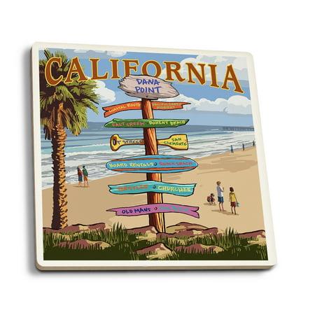 Dana Point  California   Destination Signpost  Version 3    Lantern Press Artwork  Set Of 4 Ceramic Coasters   Cork Backed  Absorbent