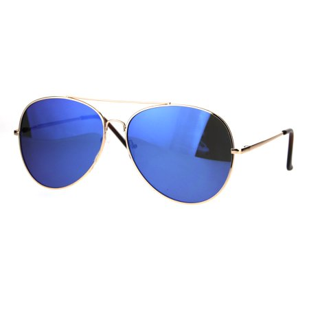 Color Mirror Flat Panel Pilots Metal Rim Mens Classic Sunglasses Gold Blue