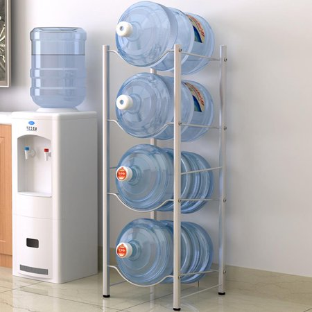 UBesGoo 5 Gallon Water Jug Holder Water Bottle Storage Rack, 4 Tiers, Silver (Bff Water Bottles)