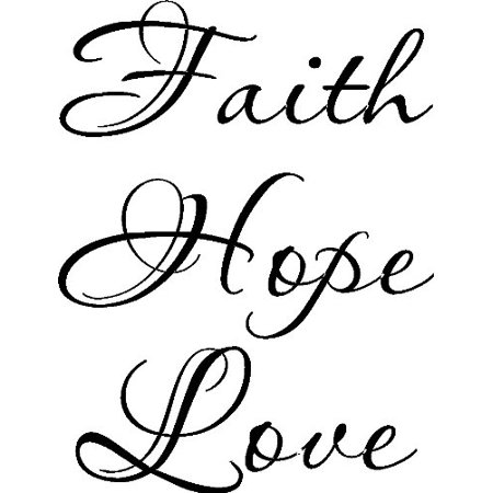Faith Hope Love Vinyl Wall Art, 1 Corinthians 13. Our Inspirational Christian Scripture Bible Verse Inspired Wall Arts are made in the USA. Love