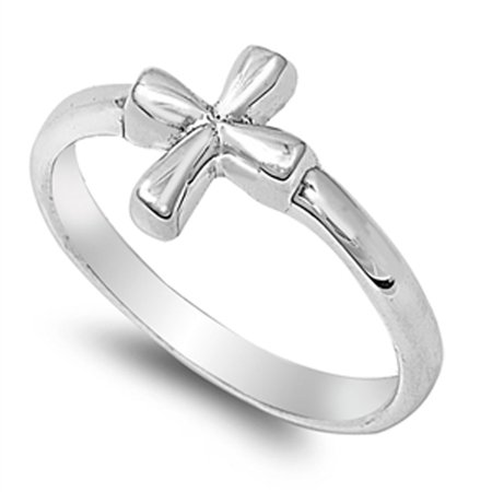 Square Christian Cross Love Jesus Ring ( Sizes 4 5 6 7 8 9 10 11 12 ) .925 Sterling Silver Small Band Rings by Sac Silver (Size -