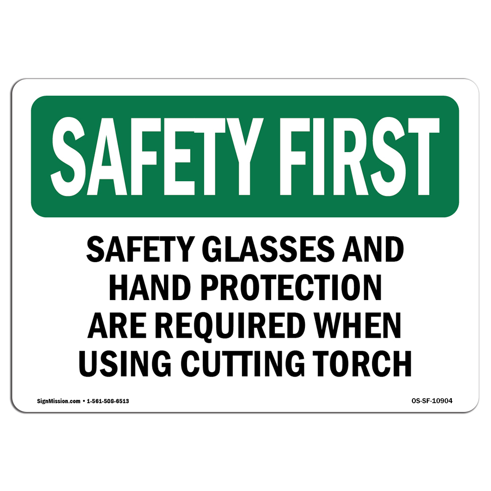 OSHA SAFETY FIRST Sign - Safety Glasses And Hand Protection Are Required | Choose from: Aluminum, Rigid Plastic or Vinyl Label Decal | Protect Your Business, Work Site, Warehouse | Made in the USA