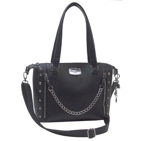 Harley-Davidson Women's Chain Gang Leather Satchel Purse, Black CG2325L-BLACK, Harley -