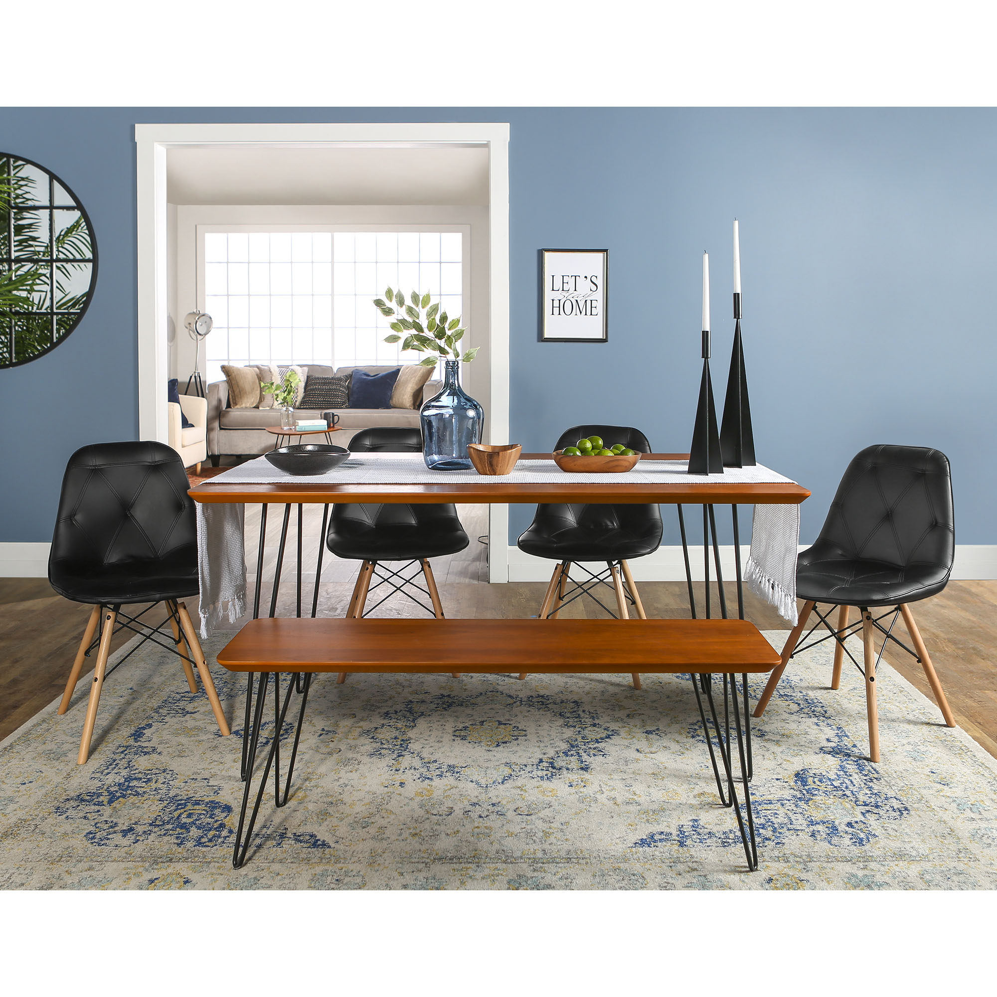 Manor Park Mid-Century Modern 6-Piece Hairpin Dining Set - Walnut / Black