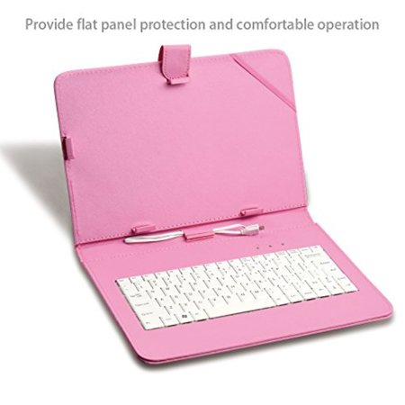 Yuntab 10 1 Inch Universal Android Tablet Keyboard Case-Fantastic USB  Keyboard and Premium PU Leather Case Stand Cover (Pink)