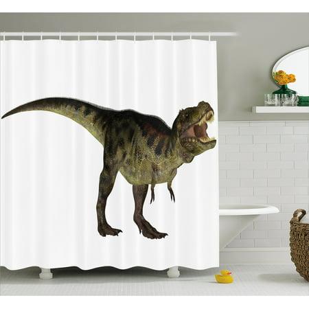 Dinosaur Shower Curtain Tyrannosaurus Illustration Prehistoric Nature Wildlife Reptilian Fabric Bathroom Set With